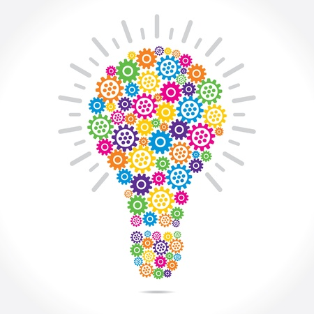 bombilla: engranaje colorido compone forma de bulbo stock vector Vectores