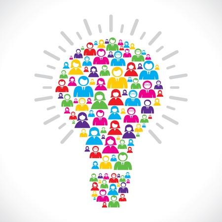 pensador: personas de color hacen forma de bulbo stock vector Vectores