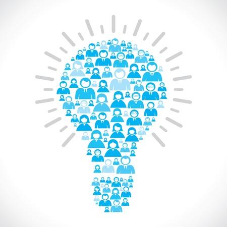 coworker banner: blue people team make bulb shape  Illustration