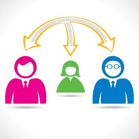 digital data transfer between people stock vector