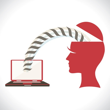 shifting: file transfer from head stock vector Illustration