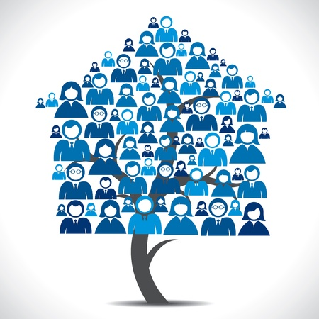 social relation: business people home tree  Illustration