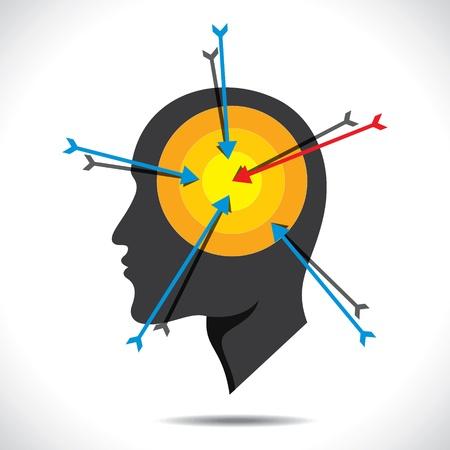 arrow hit in head stock vector