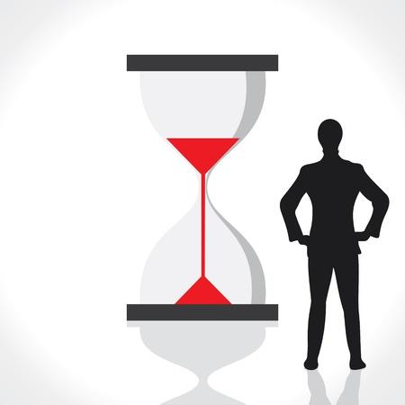 delay: businessmen with sand clock stock vector