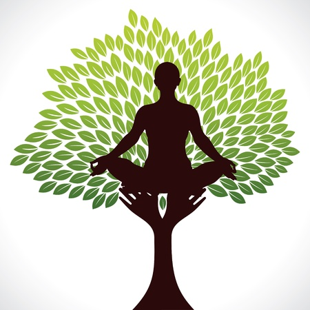 yoga asana tree pose: yoga girl in tree stock vector Illustration