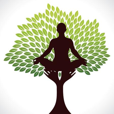 aura: yoga girl in tree Vektorgrafik