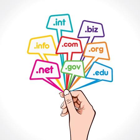 Domain-Namen in der Hand Vektorgrafik