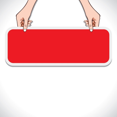 red message board in hand stock vector Stock Vector - 17763037