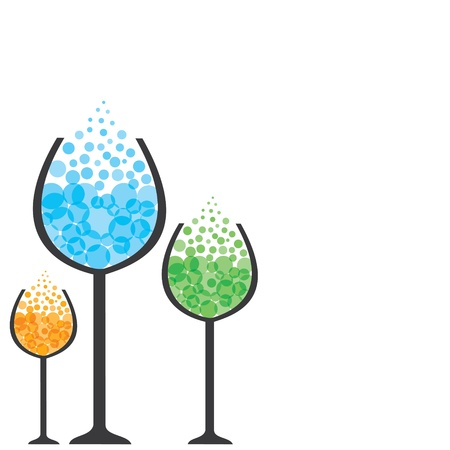 effervescent: colorful drink in wine glass stock vector Illustration