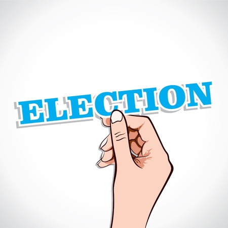 Election text in hand stock Stock Vector - 17931324