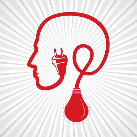 wired human head ,face with bulb stock  Illustration