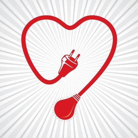 verdrahtet Herzen mit Glühlampe Lager