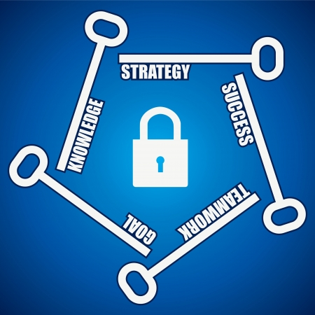 estate planning: Group of keys required for  open a lock Illustration
