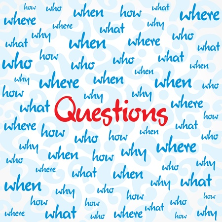stationery needs: question and many other word background stock vector
