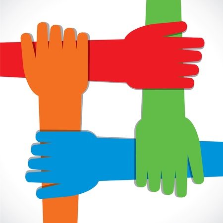 group  join: four hand join each other stock vector