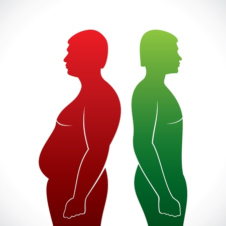 belly fat: fat and slim men stock vector