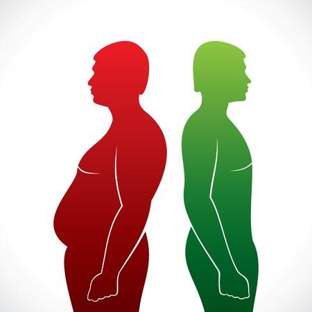 Fett und schlanke Männer Vektorgrafik