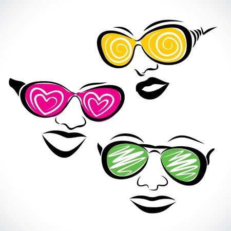 vector girl: abstract fashionable goggle wear girl stock vector