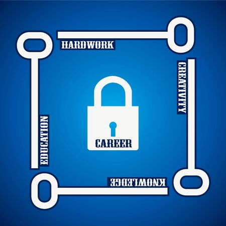recruitment icon: Group of keys required for  open a career lock