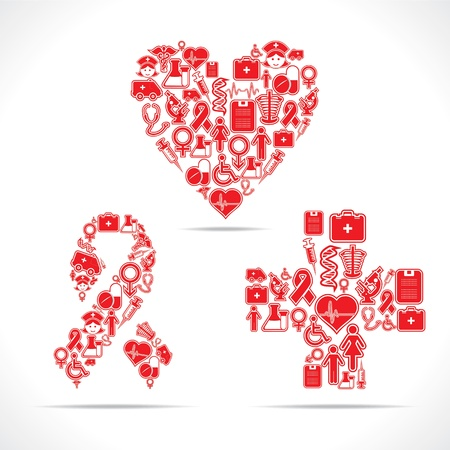 Medical icons make a heart,aids and cross shape Vector