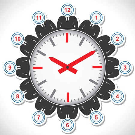 Man s face showing different numbers of a clock Stock Vector - 18053564