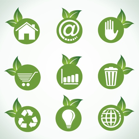 Different icons and design with green leaf stock vector Vector