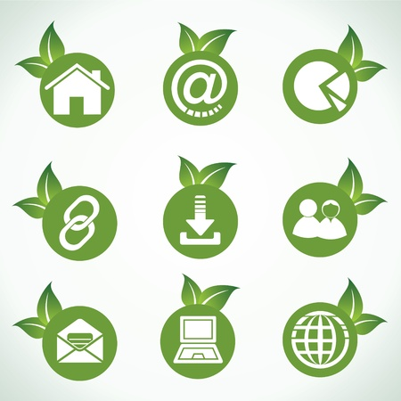 Web icons and design with green leaf stock vector Vector