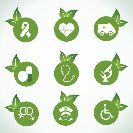 Medical icons and design with green leaf stock vector Vector