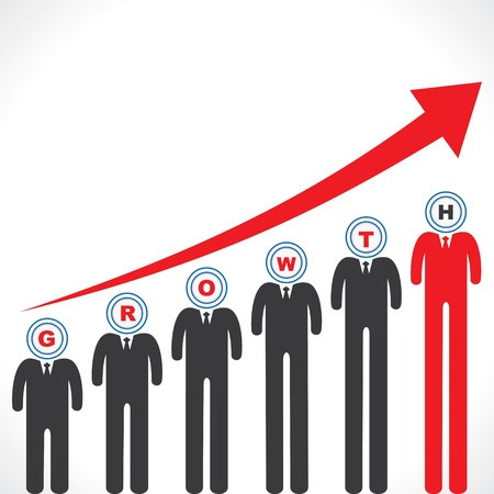 Growth graph with businessman s face Illustration