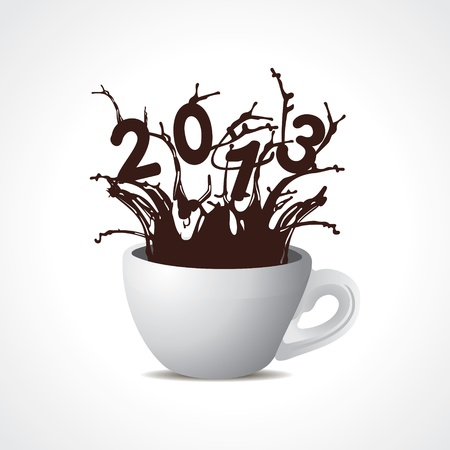 two thousand thirteen: new year 2013 creative design with coffee cup