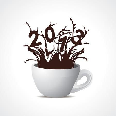 two thousand thirteen: nuevo a�o 2013 de dise�o creativo con la taza de caf� Vectores