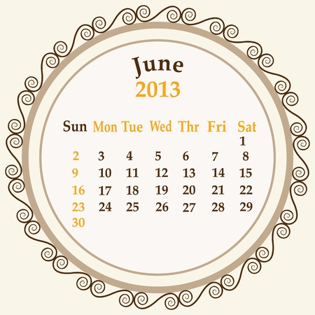 June calender 2013 stock   Stock Vector - 18268946
