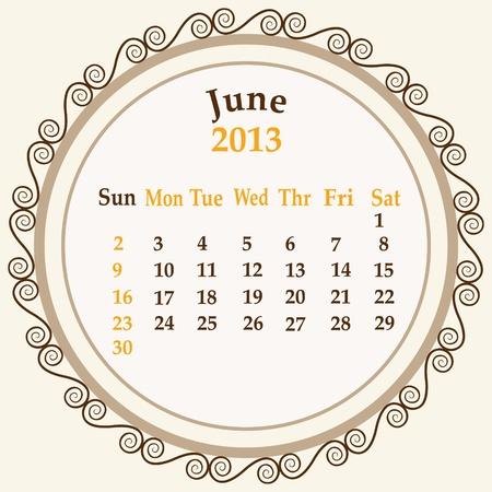 June calender 2013 stock Stock Vector - 18268946