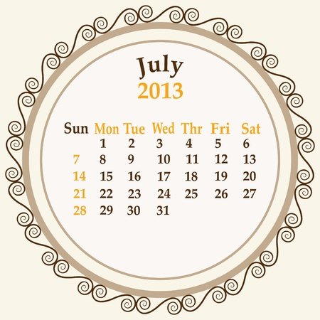 July calender 2013 stock   Vector