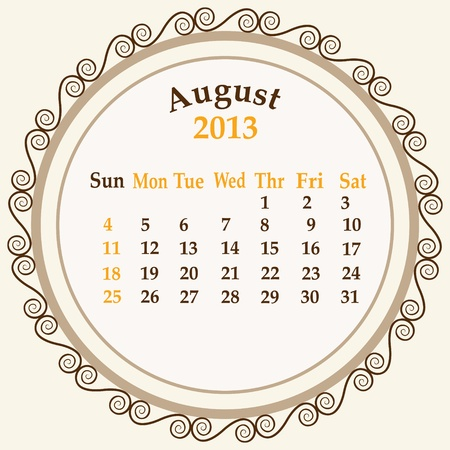 August calender 2013 stock   Stock Vector - 18268952