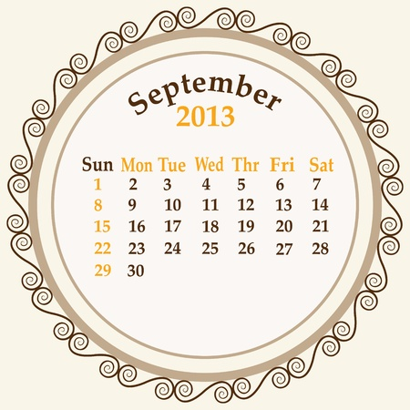 September calender 2013 stock   Vector