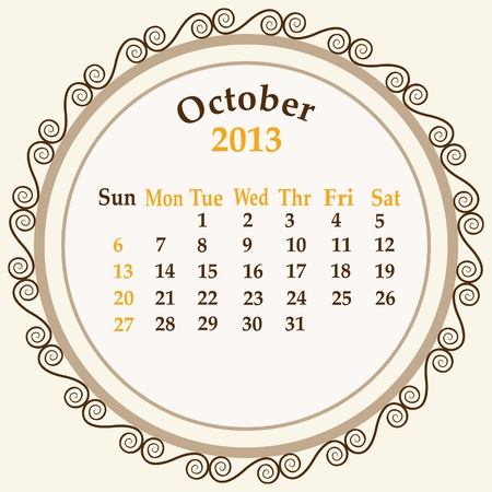 October calender 2013 stock   Stock Vector - 18268948