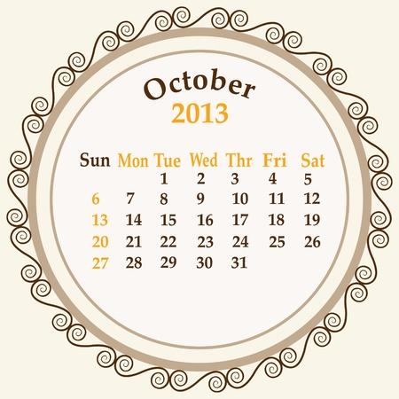 October calender 2013 stock Stock Vector - 18268948