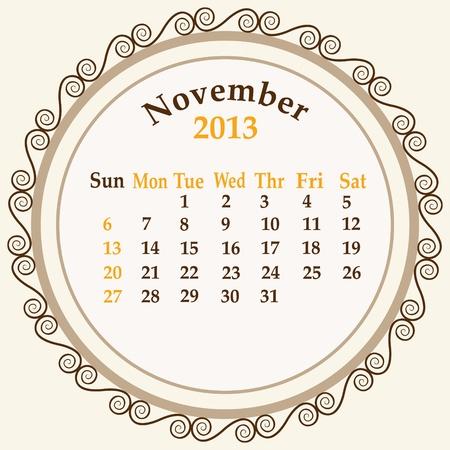 November  calender 2013 stock   Vector