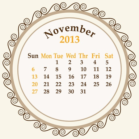 schedule appointment: November  calender 2013 stock
