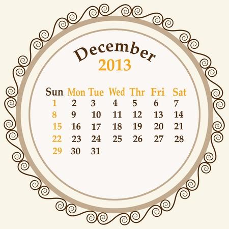 December calender 2013 stock   Stock Vector - 18268945