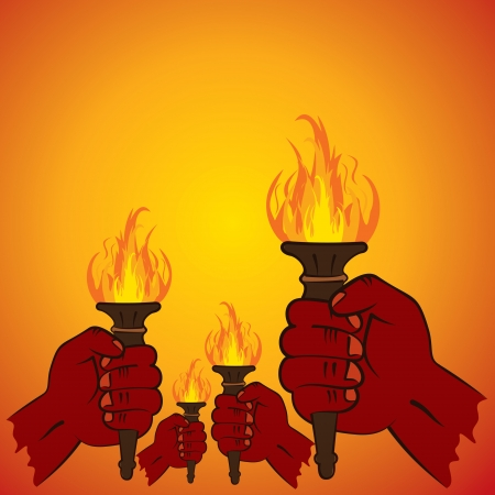 fire torch in every hand stock   Vector