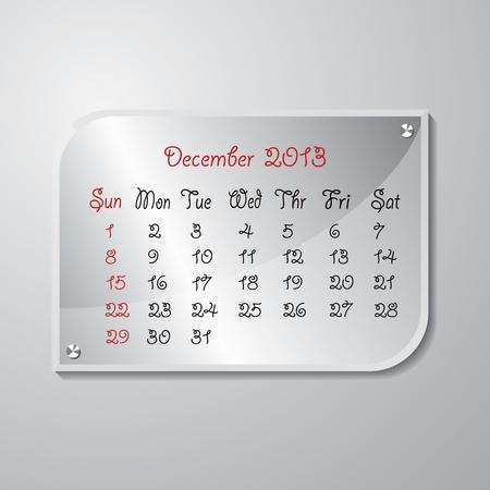 December calender 2013 stock Stock Vector - 18268981