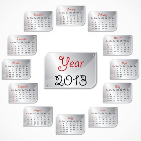 new year calender 2013 stock Stock Vector - 18269007