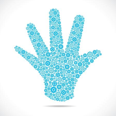 blue gear make open hand stock vector Stock Vector - 18332309