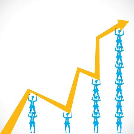 team lift the market graph stock vector Stock Vector - 18332194