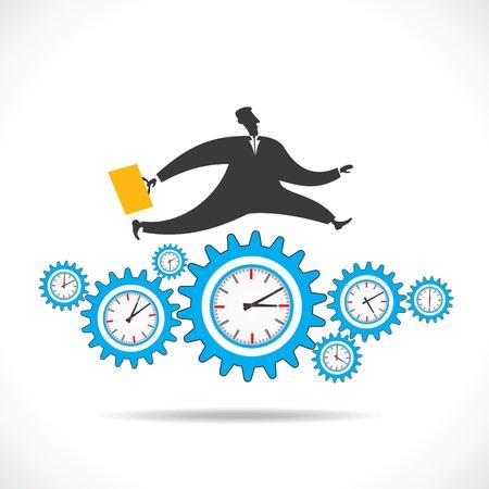 second hand: blue gear clock run over businessmen stock vector Illustration