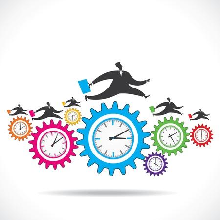 colorful gear clock run over businessmen stock vector