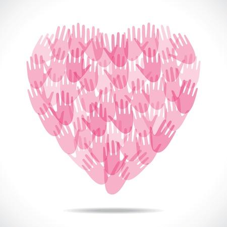 st valentins day: mano rosa fanno capo forma stock vector
