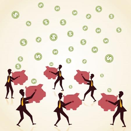 every men catch money in piggy bank stock vector Stock Vector - 18332242